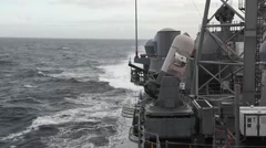 Live firing of close-in weapons system (CIWS) during a live fire exercise Stock Footage