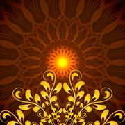 Vector Glowing Orange Mandala with floral ornament Stock Illustration