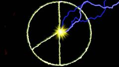 Electric arc draws golden PEACE SIGN on black background Stock Footage