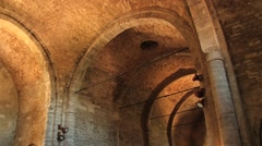 Interior of the medieval San Leo cathedral in San Leo, Italy. - stock footage