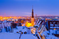 Panoramic view of old part of Tallin in winter. Snowy roofs - stock photo