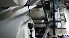 Industrial Offset Press Paper Rolls Closeup Handheld Stock Footage