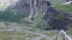 Trollstigen pass road, aerial footage Stock Footage