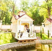 Young wedding couple enjoying romantic moments - stock photo