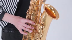 A man playing the saxophone Stock Footage