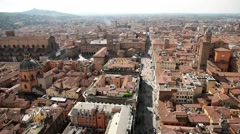 Aerial view to the historical center of Bologna city, Italy. Stock Footage