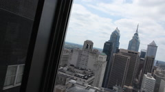 Philadelphia Skyline From Window Stock Footage