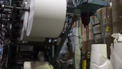Industrial Offset Press Paper Rolls Tilt Up Stock Footage