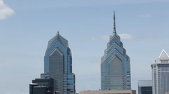 Philly Skyline Pan From Window Stock Footage