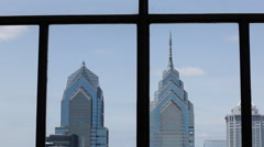 Philly Skyline Static Shot From Window Stock Footage
