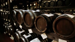 Balsamic vinegar barrels for storing and aging in a cellar in Modena, Italy. Stock Footage