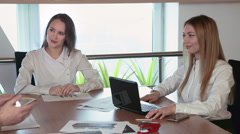 Business negotiations in the office panoramic Stock Footage