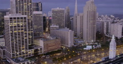 Aerial San Francisco Skyline, Clock Tower, Ferry Building Stock Footage
