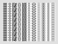 Indian Henna Border decoration elements patterns in black and white colors - stock illustration