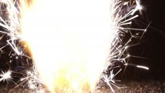 Match lit the fuse and ignite the gunpowder from the fireworks Stock Footage