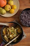 Black rice noodles with stir fried vegetables Stock Photos