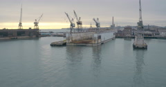 Aerial of Dogpath Pier 70 Area, Cranes in Water, San Francisco Stock Footage