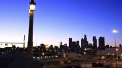 Los Angeles skyline from the 4th Street Bridge Stock Footage