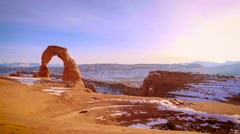 Delicate Arch Wide Pan Left Stock Footage