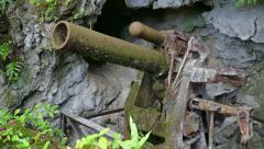 Old Gun Cannon Artillery In Jungle Japanese Defense Position Palau - stock footage