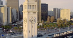Aerial Ferry Building and Port of San Francisco Sign Stock Footage