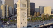 Aerial Ferry Building and Port of San Francisco Sign - stock footage