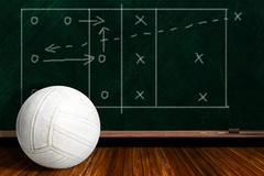 Game Concept With Volleyball and Chalk Board Play Strategy Stock Photos