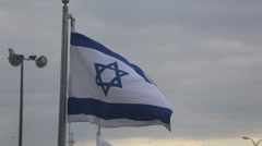 Flag of israel at sunset Stock Footage