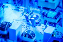 Microcircuit board with capacitors and chips Stock Photos