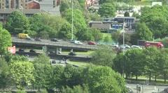 4K Aerial view heavy traffic car freeway Manchester bustling road highway jam UK Stock Footage