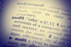 Close up of the word audit from a dictionary Stock Photos