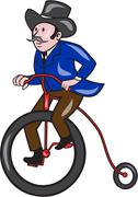 Gentleman Riding Penny-farthing Cartoon Stock Illustration