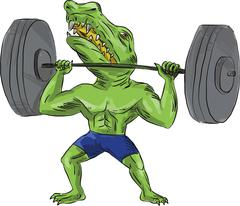 Sobek Weightlifter Lifting Barbell Caricature Stock Illustration