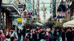 big shopping crowd Ermou commercial street Athens Greece Stock Footage