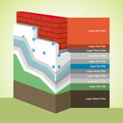 Polystyrene Thermal Insulation Cross-Section layered Infographics - stock illustration
