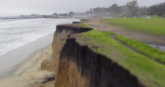 Aerial view of erosion on beach in Half Moon bay - stock footage