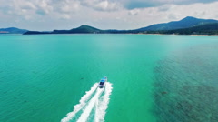 Speed boat sailing in the summer sea in Thailand Stock Footage