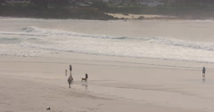 Carmel Beach and people walking on it Stock Footage