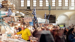 Fish public market Varvakeios square people shopping timelapse Stock Footage