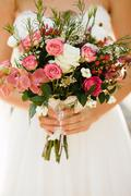 White and pink roses bride bouquet - stock photo