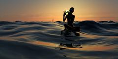 Surfer Girl Giving Hand Signals at Sunrise - stock illustration
