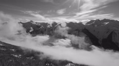 Winter time lapse. Rocky Mountains, BC, Canada. Black and white. Stock Footage
