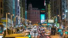 Madrid, Spain cityscape on Gran Via at twilight timelapse Stock Footage