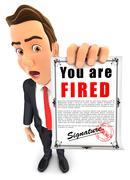 3d businessman holding a dismissal notice - stock illustration