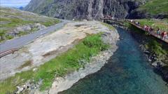 Viewing platform in Trollstigen pass in Norway, aerial view Stock Footage