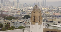 Aerial view of San Francisco Mission District Bell tower - stock footage