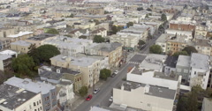 Aerial view of San Francisco Mission District Stock Footage