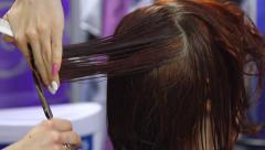 Women's haircut. hairdresser. - stock footage