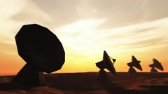 4K Radioantenna Observatory Dishes in the Sunset Sunrise 7 Stock Footage