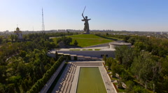 Aerial shot of Motherland Statue in Mamaev Kurgan. Stalingrad,  Volgograd Stock Footage